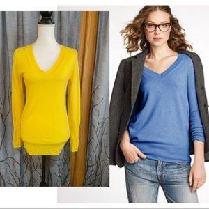 J Crew XS oversized cashmere v-neck sweater yellow